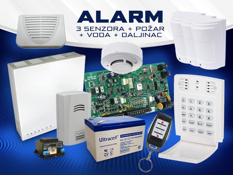 Žicni Alarm 3 senzora + požar + voda + daljinac