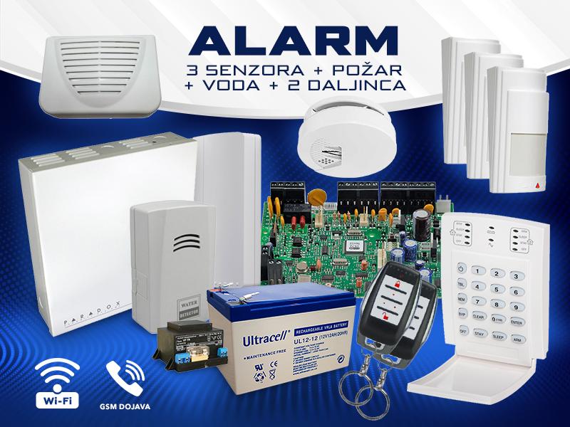 Bežicni Alarm 3 senzora + požar + voda + 2 daljinca + tel. glasovna dojava sa daljinskim upravljanjem